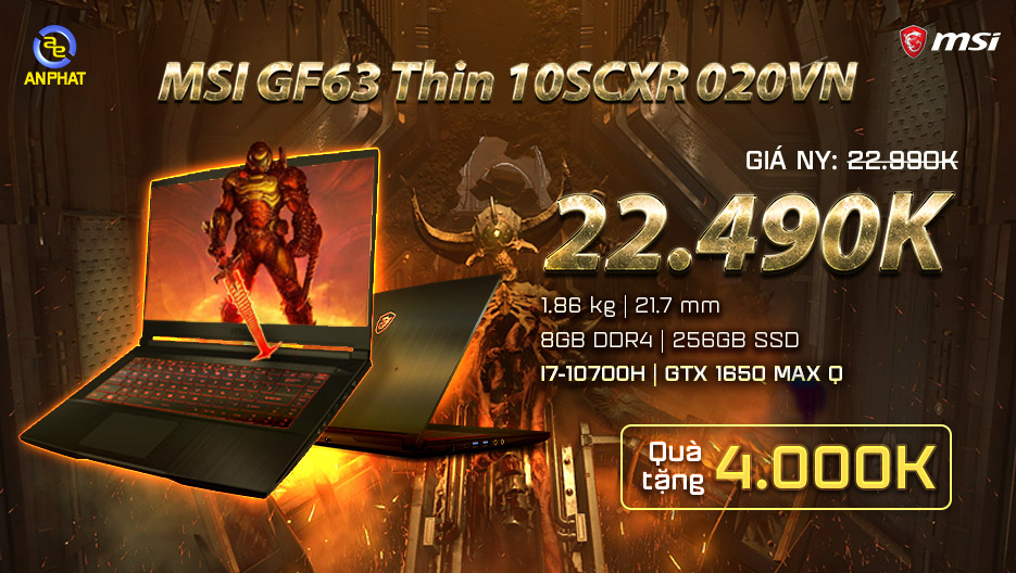 Laptop MSI GF63 Thin 10SCXR 020VN