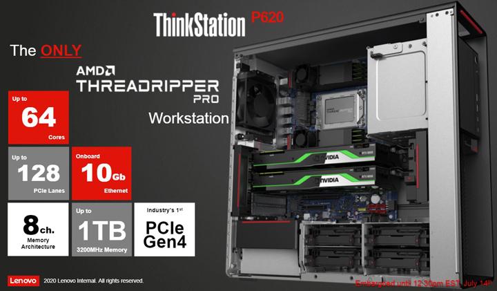 Lenovo ra mắt máy trạm ThinkStation P620, máy trạm cao cấp đầu tiên và duy nhất dùng chip AMD Ryzen Threadripper PRO