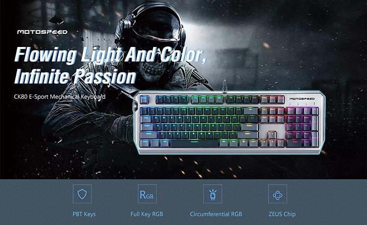 Motospeed CK80 Zeus RGB - Sắc màu trên ngón tay game thủ