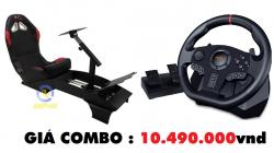 Combo chơi game PXN V900 Racing Wheel và Ghế chơi game đua xe F1 APC Racing SIM / Flight SIM Pro F1 Seat