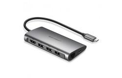 Cáp USB type-C to HDMI/Hub USB 3.0/SD/TF/Lan Gigabit chính hãng Ugreen 50538 cao cấp