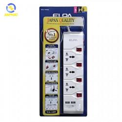 Ổ cắm điện ELPA ESU-VNI33 3 ổ điện, 4 công tắc, 3m, 2xUSB