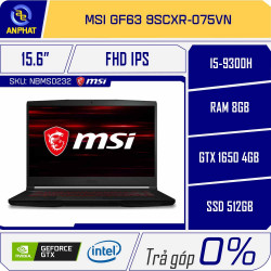 Laptop MSI GF63 9SCXR 075VN Black