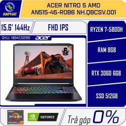 Laptop Acer Nitro 5 AMD AN515-45-R0B6 NH.QBCSV.001 (Ryzen 7-5800H | 8GB | 512GB | RTX 3060 6GB | 15.6 inch FHD | Win 10 | Đen)