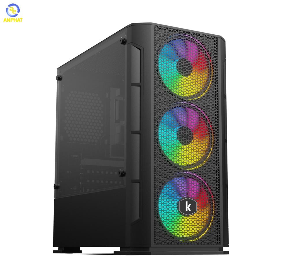 Vỏ case KENOO ESPORT G362 3F - Mầu Đen ( 3 fan led RGB rainbow)
